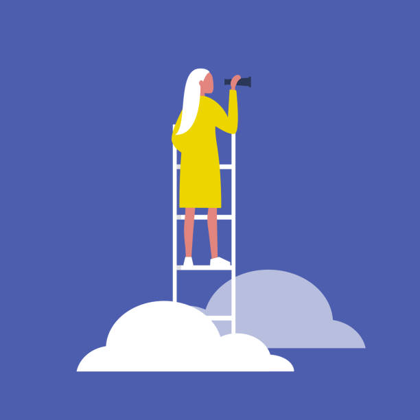 illustrazioni stock, clip art, cartoni animati e icone di tendenza di young blonde female character standing on a ladder in the clouds and holding a spyglass. business strategy. success. flat editable vector illustration, clip art - future