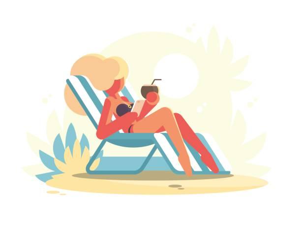 junge blondine auf chaise longue liegend - sonnenstuhl stock-grafiken, -clipart, -cartoons und -symbole