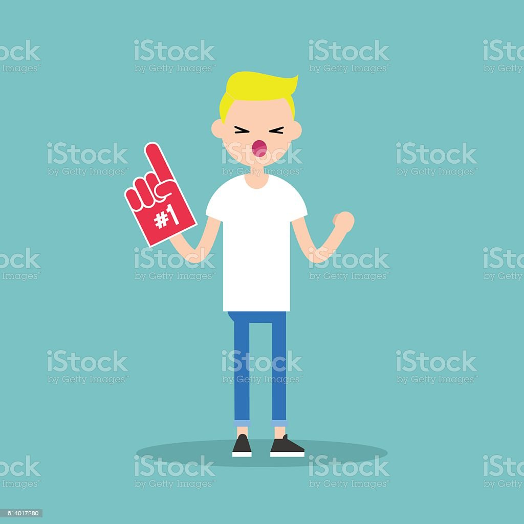 Young blonde teenage fan wearing foam finger vector art illustration