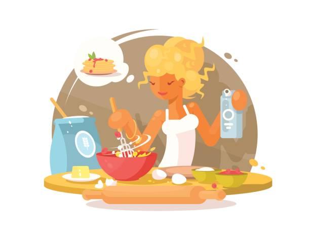illustrations, cliparts, dessins animés et icônes de jeune femme blonde prépare des repas - twerk