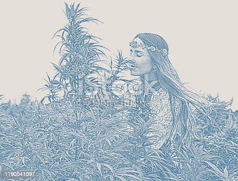 Young boho woman farmer examining hemp plants
