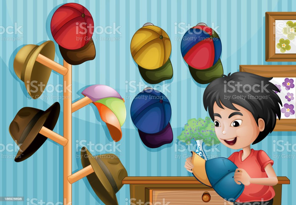 Young boy and his cap collection royalty-free young boy and his cap collection stock vector art & more images of adult