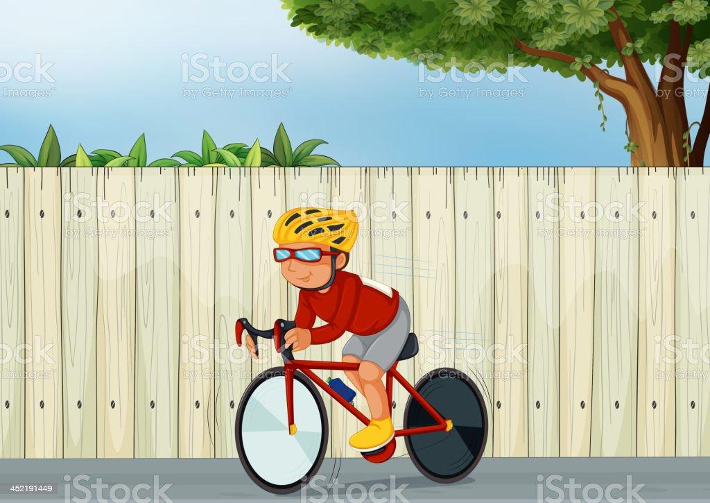 Young boy biking royalty-free stock vector art