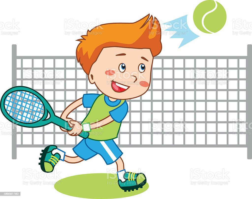 young boy boy playing tennis kids tennis vector illustration stock rh istockphoto com Tennis Racquet Clip Art clipart tennis cartoon image