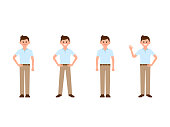 Young boy cartoon character. Vector illustration of casual look man in different poses