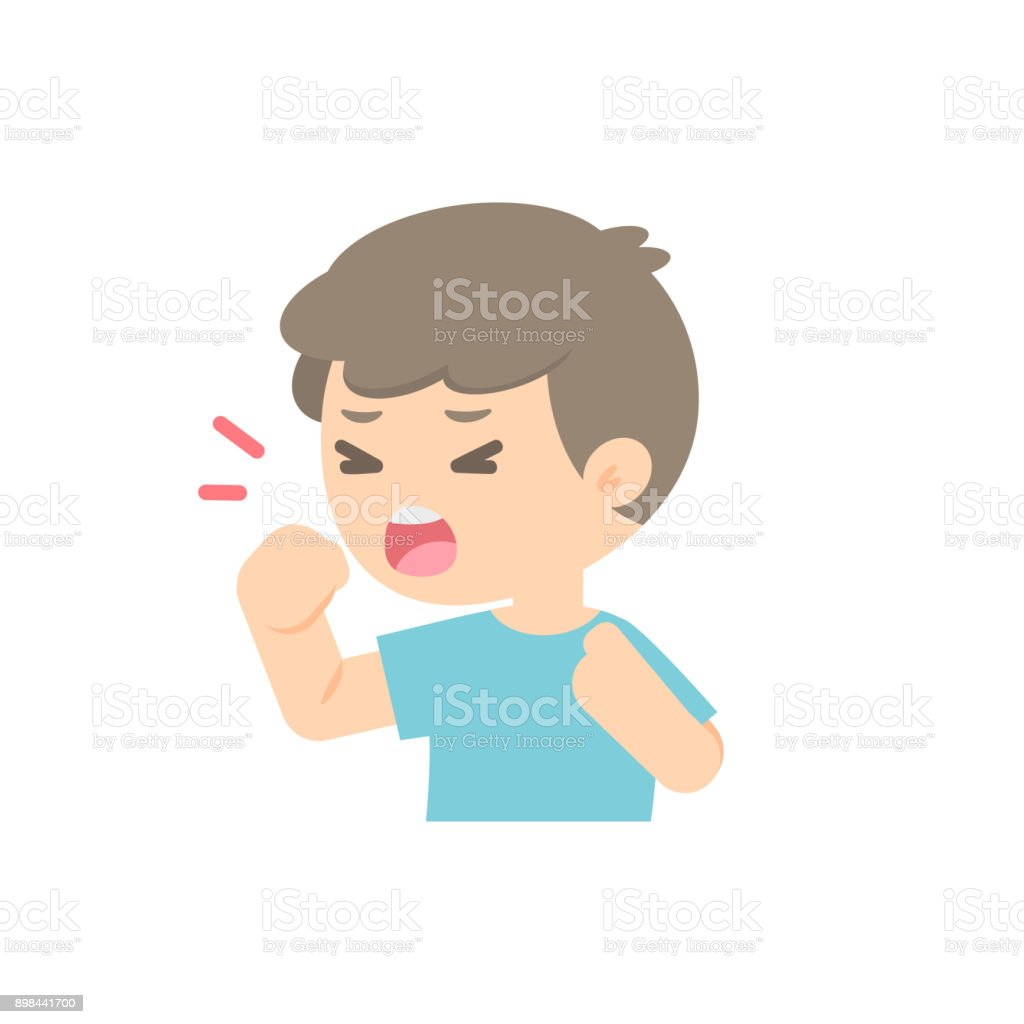 young boy coughing, sickness allergy concept, Vector flat illustration. vector art illustration