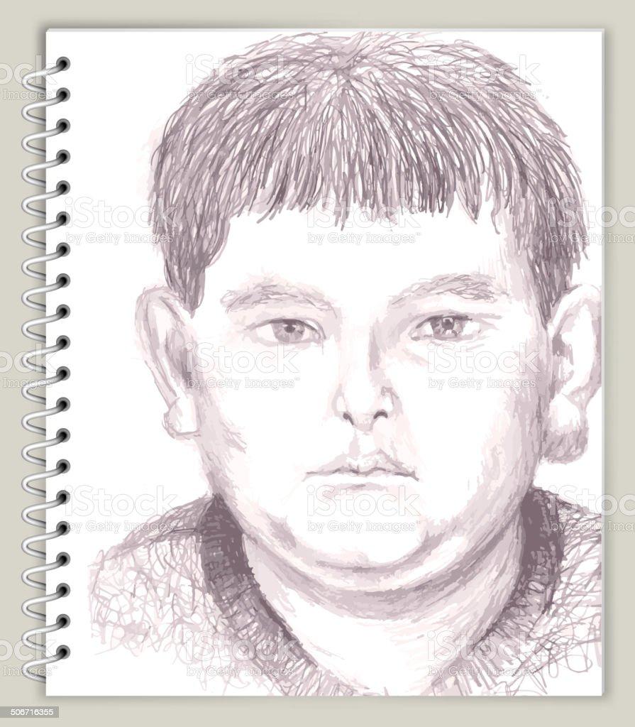 Young boy drawing on art sketching scrapbook design illustration