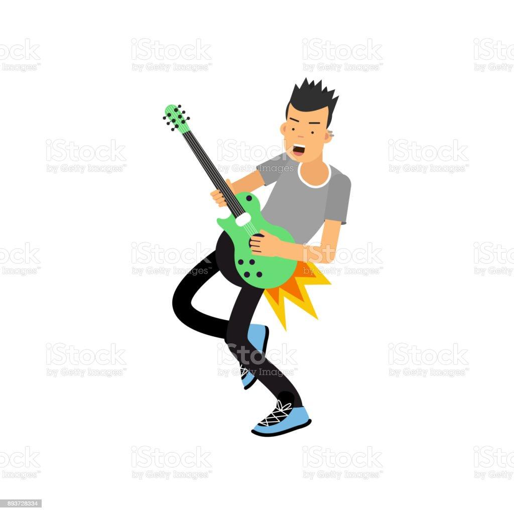 Ilustración De Joven Disfruta De Tocar La Guitarra Eléctrica
