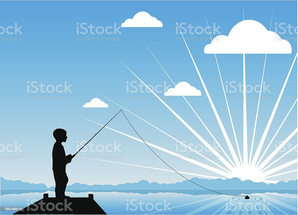 Young boy fishing at sunrise vector art illustration