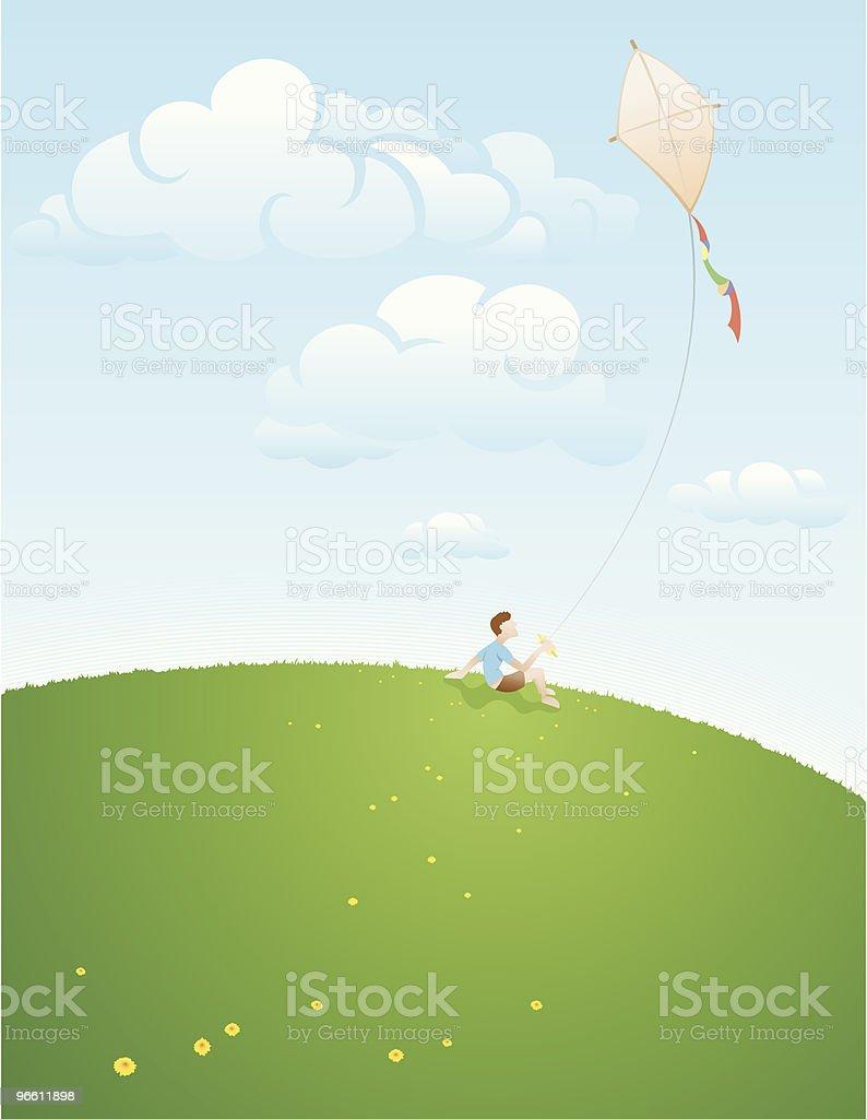 Young boy flying kite - Royalty-free Alleen kinderen vectorkunst