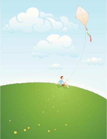 Young Boy Flying Kite Stockvectorkunst en meer beelden van Alleen kinderen