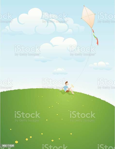 Young Boy Flying Kite-vektorgrafik och fler bilder på Avkopplingsaktivitet