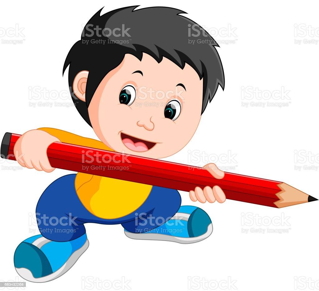 Young boy holding a big pencil vector art illustration