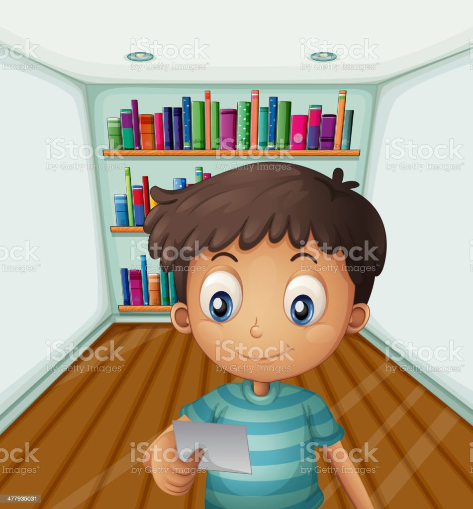 Young boy in front of the bookshelves royalty-free stock vector art