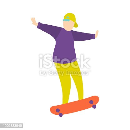 istock Young boy in green baseball cap does trick on skateboard 1209833949