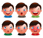 Young boy kid avatar facial expressions set of emoticon heads