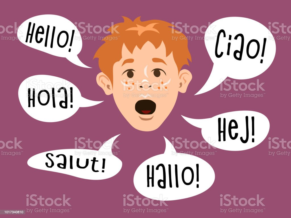 Young Boy Learning To Speak Different Languages Word Hello Greetings