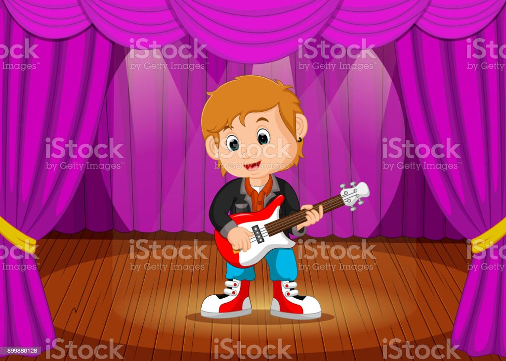 Young boy playing Electric guitar on stage vector art illustration