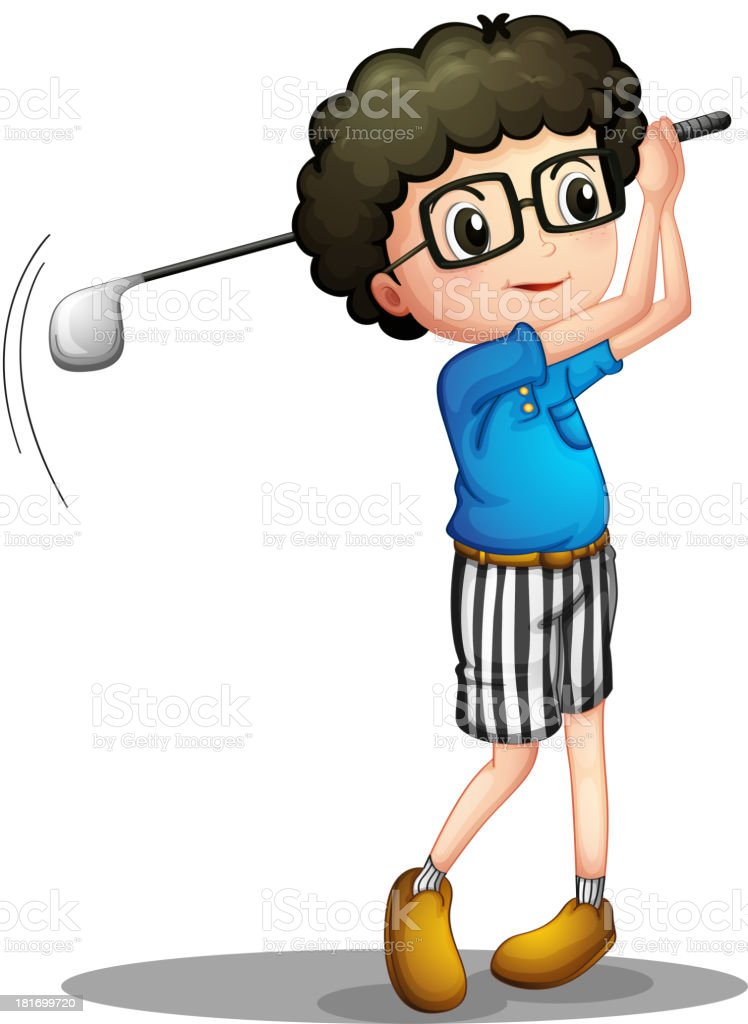 young boy playing golf royalty-free stock vector art