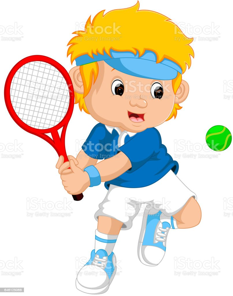 royalty free cute little tennis boy clip art vector images rh istockphoto com tennis clipart images tennis clip art png