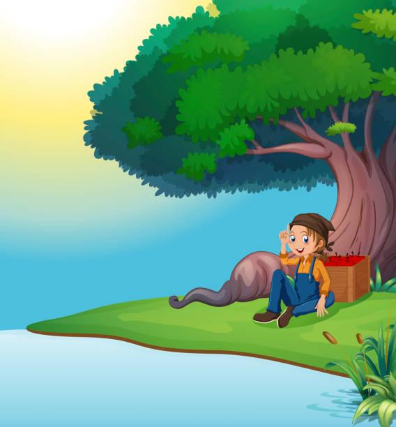 Royalty Free Boy Under The Shade Of A Big Tree Clip Art ...
