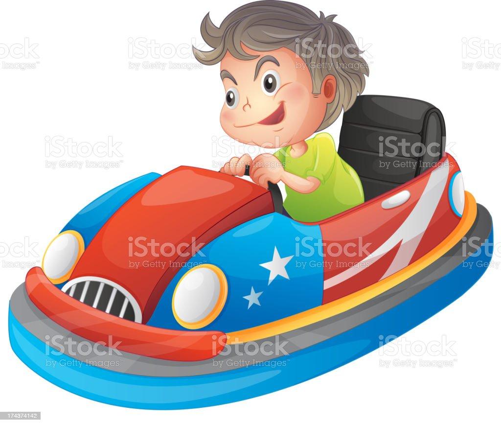 Young boy riding a autos de choques - ilustración de arte vectorial