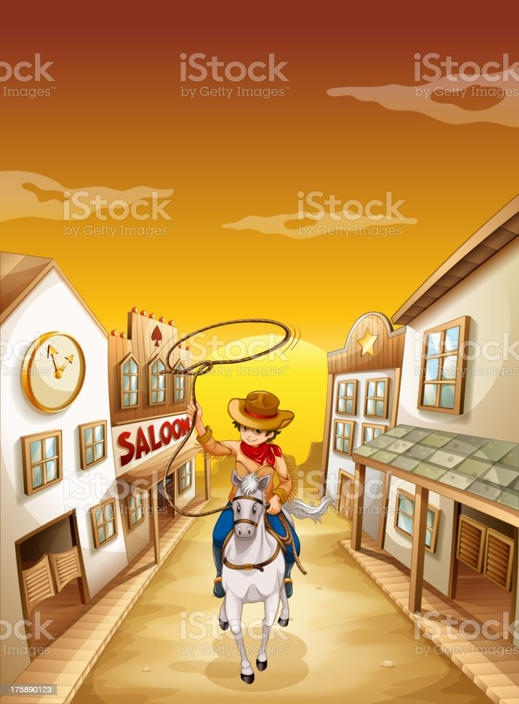 young boy riding in horse with a rope royalty-free stock vector art