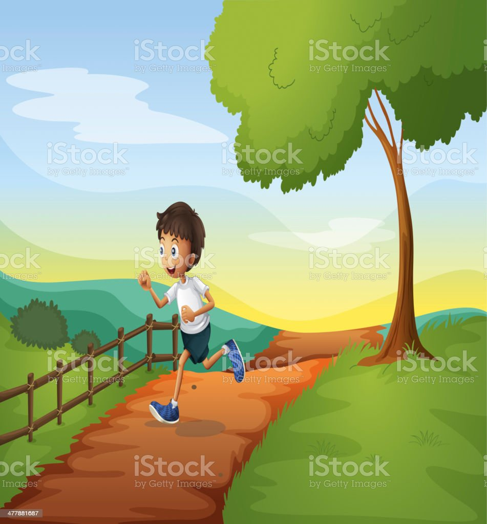 Young boy running royalty-free stock vector art