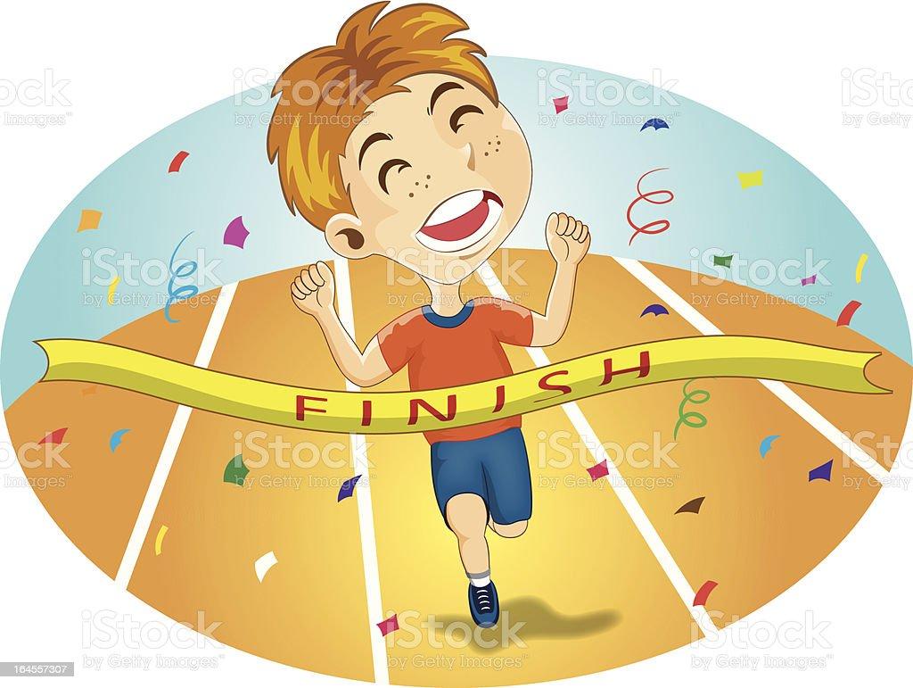 Young Boy Runs Across Finish Line royalty-free stock vector art
