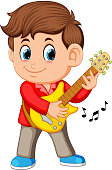 illustration of A young boy sings and plays on the electric guitar