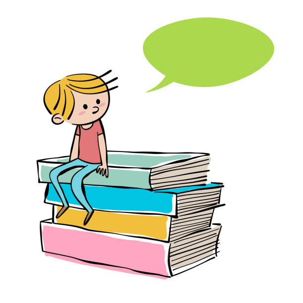 Young boy sitting on a pile of books Vector illustration of a young boy sitting on a pile of books. Pencil drawing and ink style. Flat colors and line art. Ideal for education ideas and concepts and children's books. book drawings stock illustrations