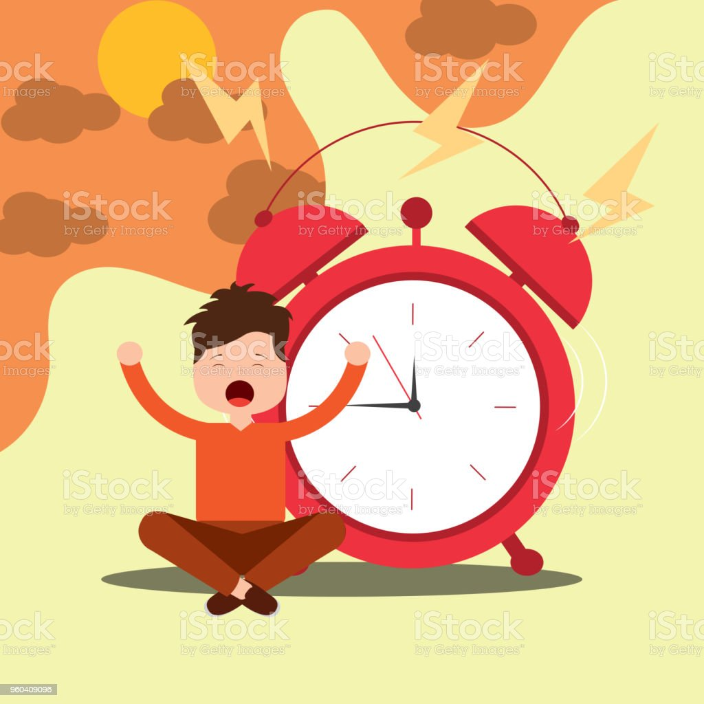 Young Boy Sitting With Alarm Clock Wake Up Concept Stock Vector Art