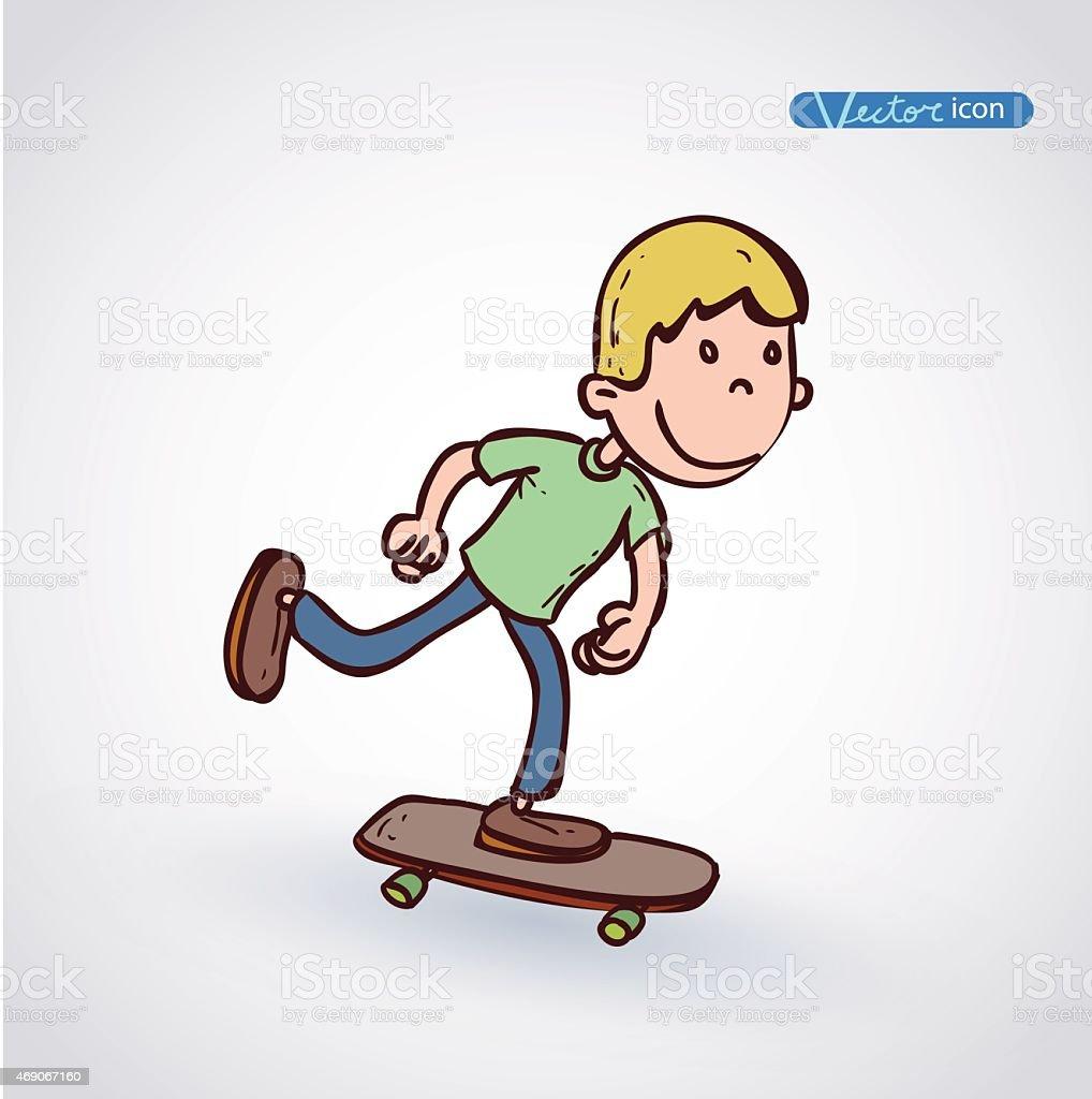 Skate Jeune Garcon En Dessin Anime Vector Illustration Vecteurs Libres De Droits Et Plus D Images Vectorielles De 2015 Istock