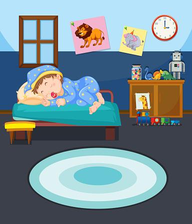 Young boy sleeping scene
