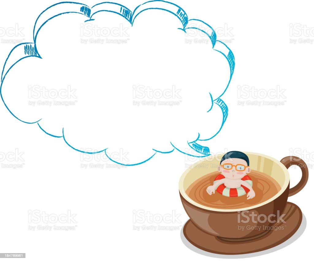 young boy swimming on cup of choco with empty callout royalty-free stock vector art