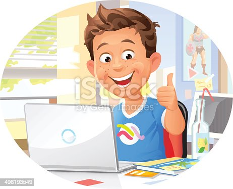 istock Young Boy Using Laptop 496193549
