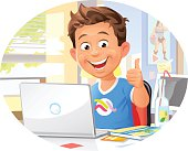 A laughing young boy in his room using a laptop and gesturing thumbs up. EPS 10, grouped and labeled in layers.