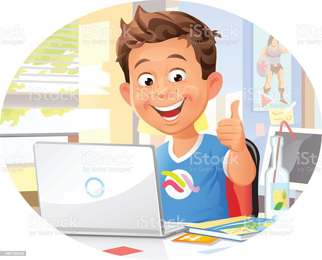 Young Boy Using Laptop vector art illustration