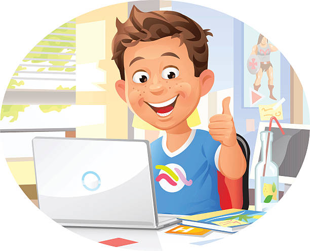 young boy using laptop - e-learning not icons stock illustrations