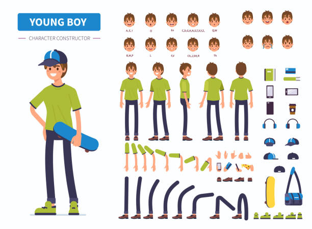 young boy Young  boy or teenager character constructor for animation. Front, side and back view. Flat  cartoon style vector illustration isolated on white background. teenage boys stock illustrations