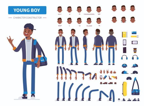 młody chłopak - grupa przedmiotów stock illustrations