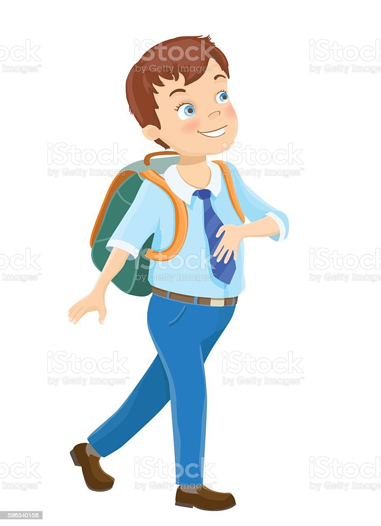 Young boy walking royalty-free young boy walking stock vector art & more images of backpack