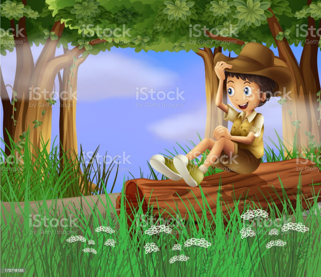 Young boy with a hat sitting at the trunk royalty-free young boy with a hat sitting at the trunk stock vector art & more images of adult
