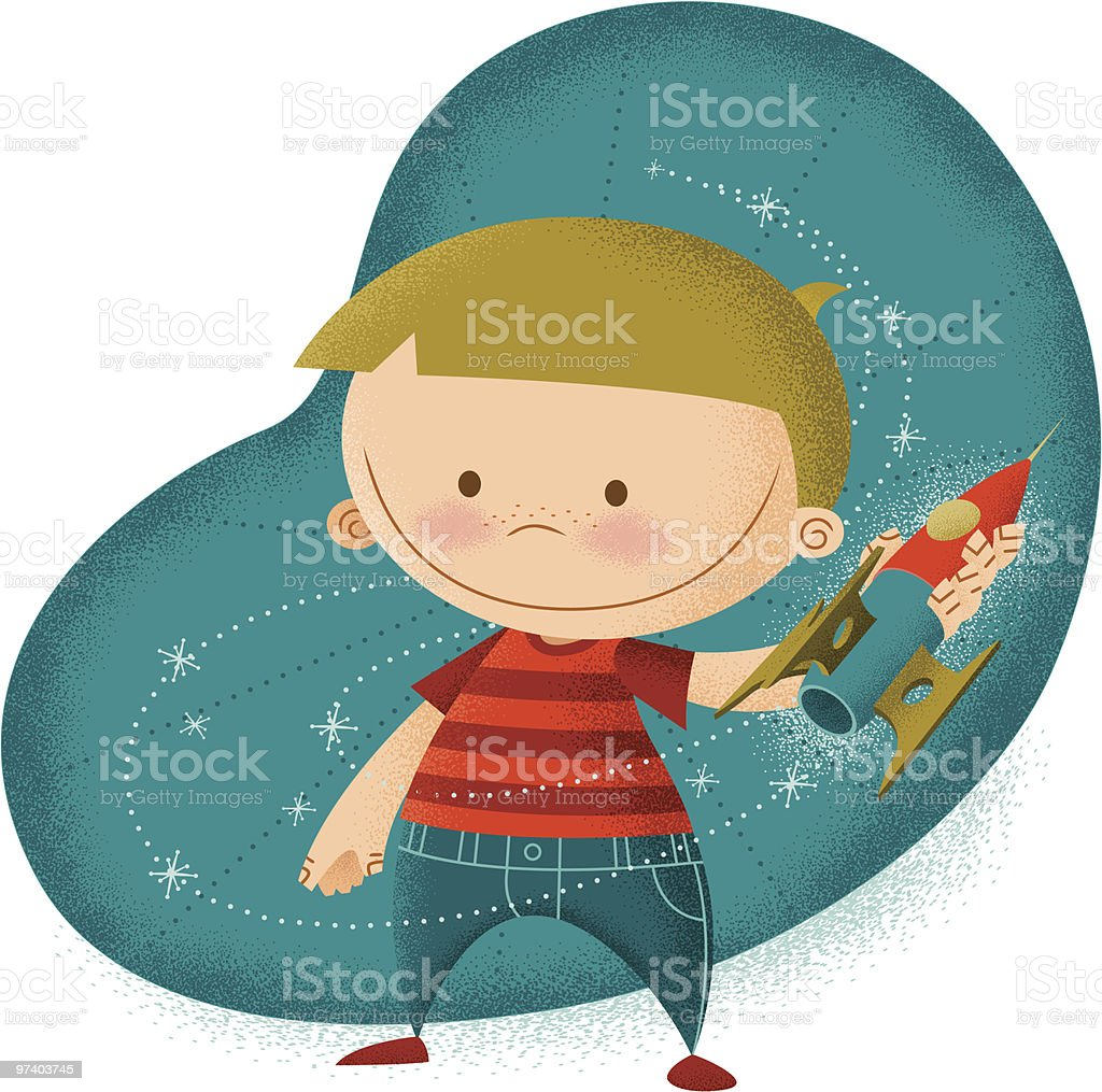 Young boy with Rocketship Toy vector art illustration