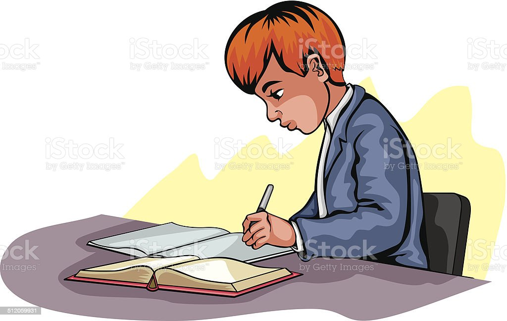 Young boy writing vector art illustration