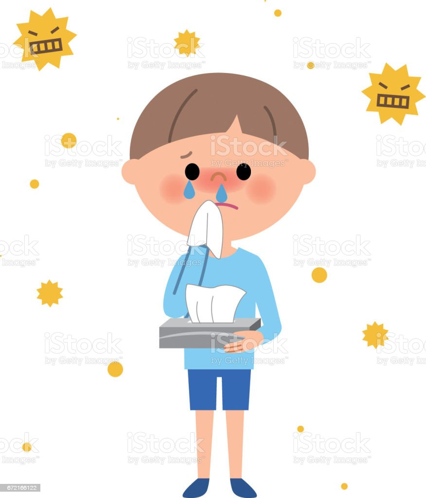 Young boy,Hay fever vector art illustration