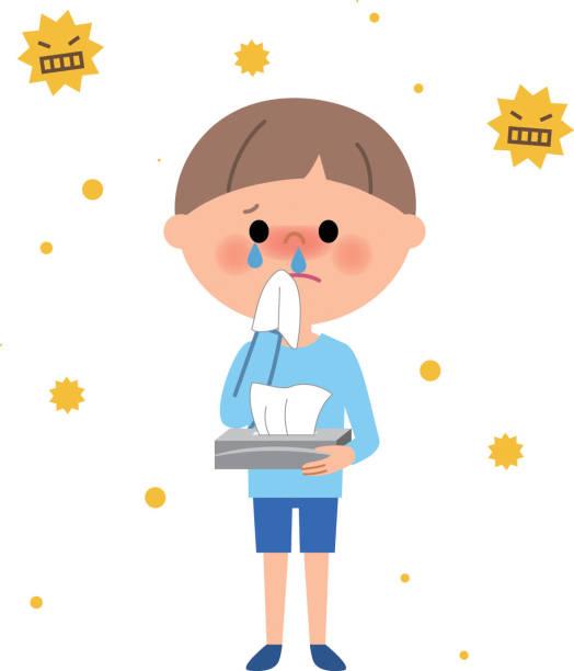 若い男の子、花粉症 - くしゃみ 日本人点のイラスト素材/クリップアート素材/マンガ素材/アイコン素材