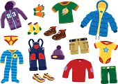 A collection of 15 isolated pieces of young boys typical clothing. Items include; coat, hooded top, cargo shorts, sweater, shoes and under garments.