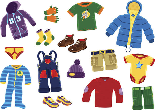 Young boys clothing items A collection of 15 isolated pieces of young boys typical clothing. Items include; coat, hooded top, cargo shorts, sweater, shoes and under garments. baby clothing stock illustrations