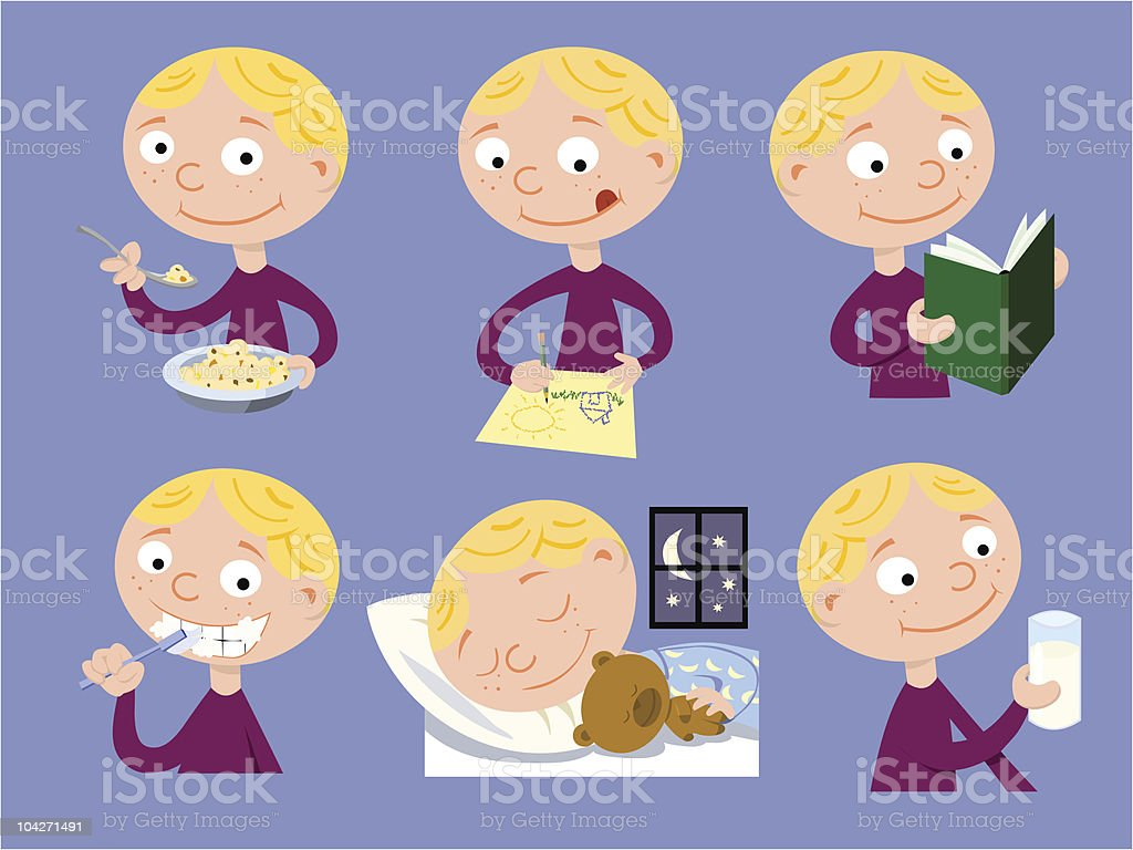 Young boy`s daily activities royalty-free stock vector art